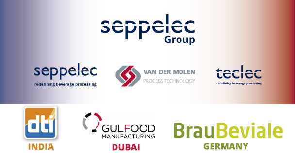 Seppelec presents Van Der Molen as a new member of the Group at the Gulfood Manufacturing, Dti India and BrauBeviale 2018 trade fairs.